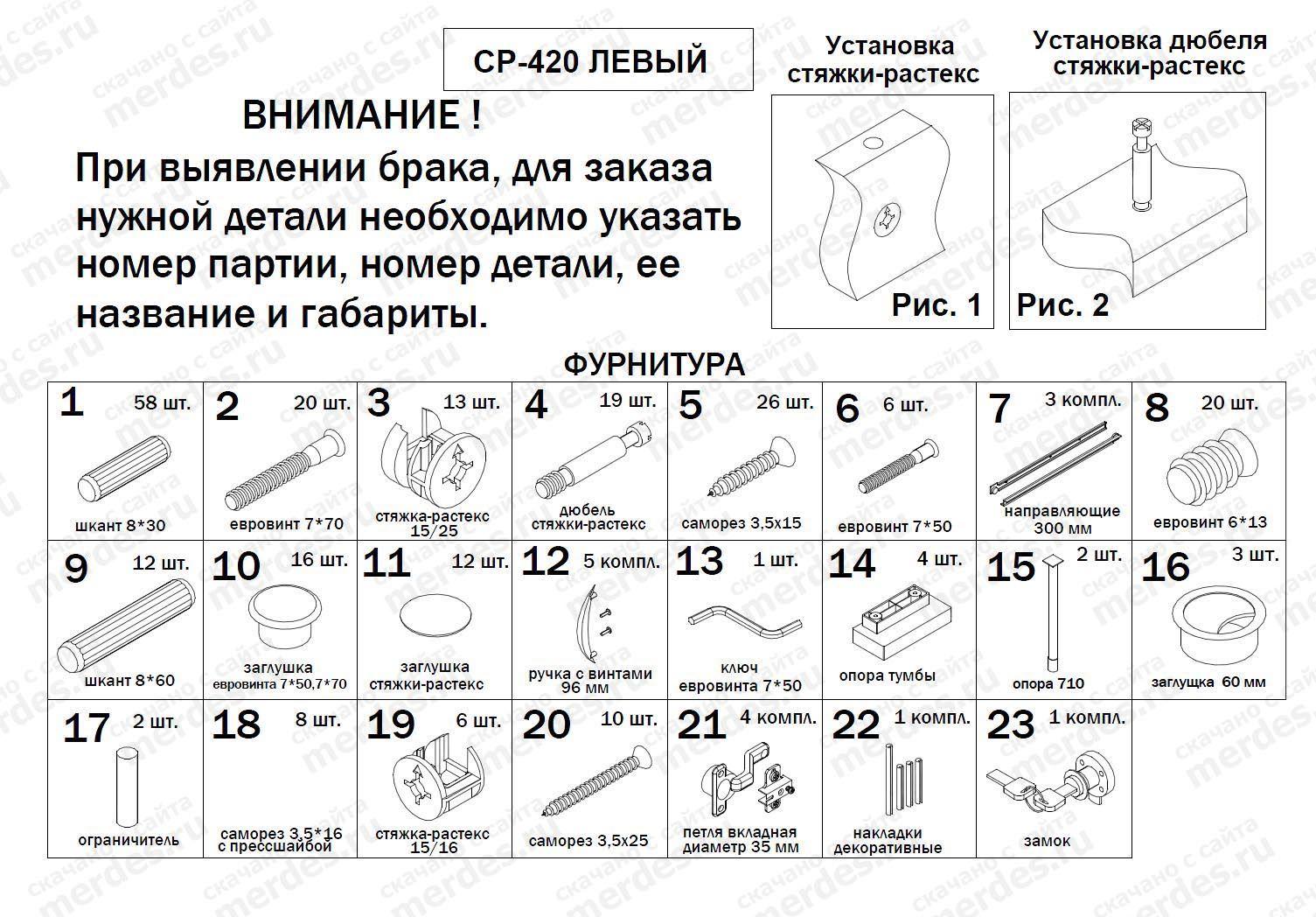 Схема сборки письменного стола 1
